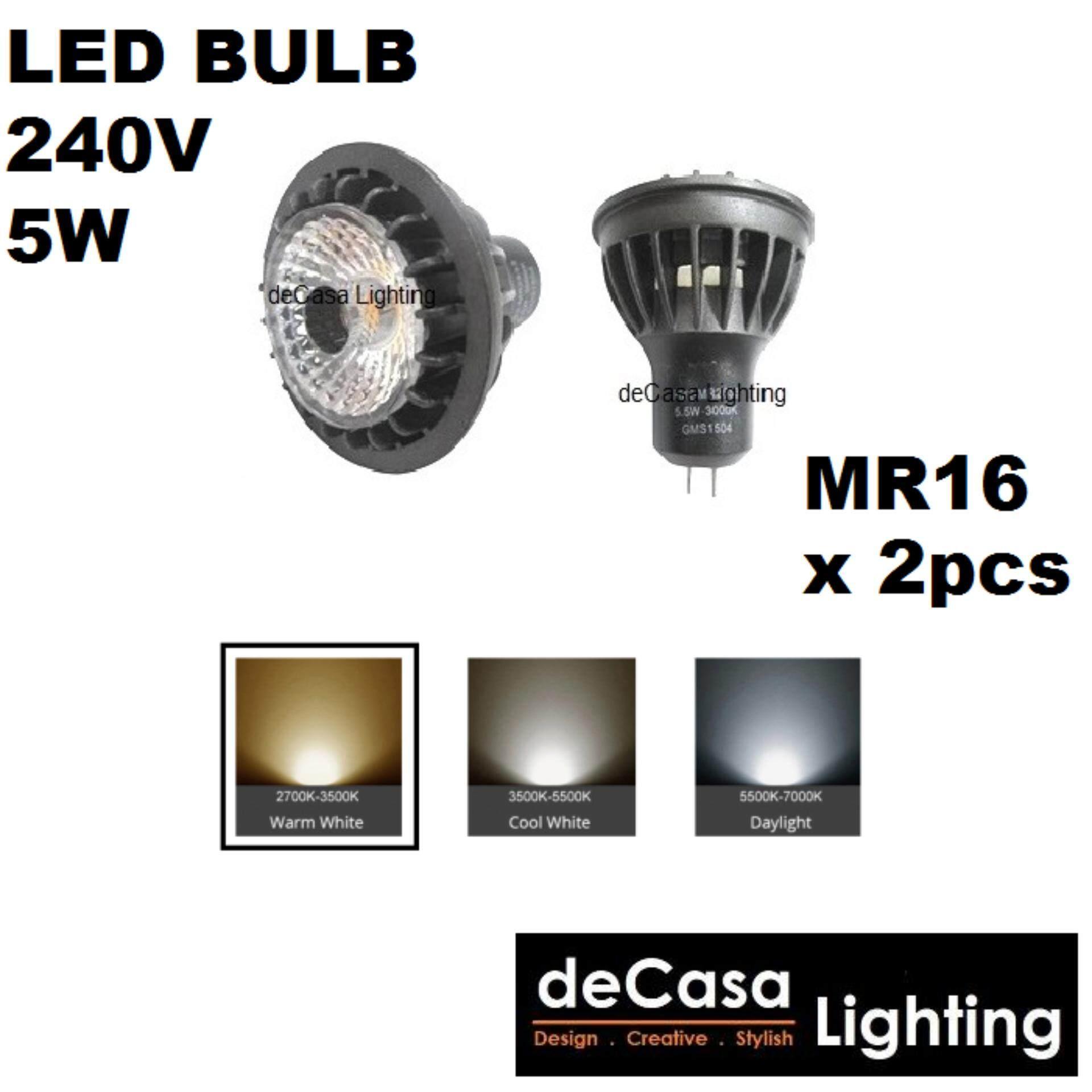 2PCS 5W Led Bulb 240v MR16 Led Bulb Warm White MR16 Holder Spotlight Bulb (CM-MR16-5W-WW)