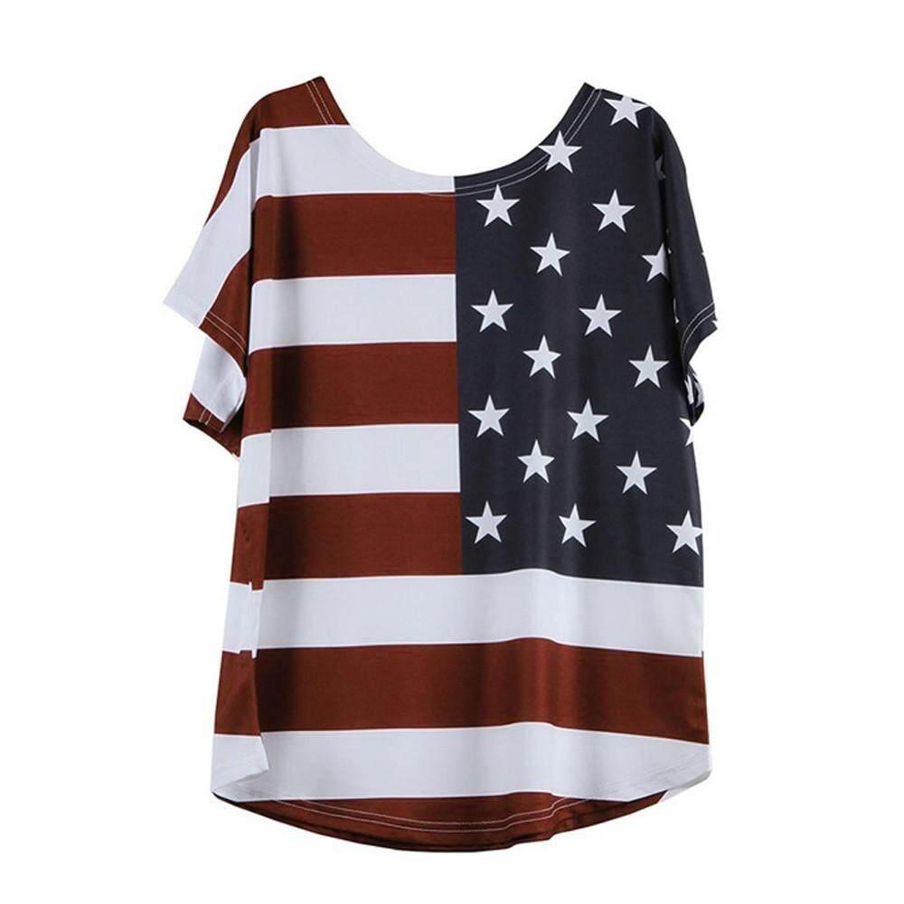 Detail Gambar Singa Ukuran Plus Mode untuk Wanita Blus Longgar Bintang Stripe Bendera Amerika Serikat Amerika