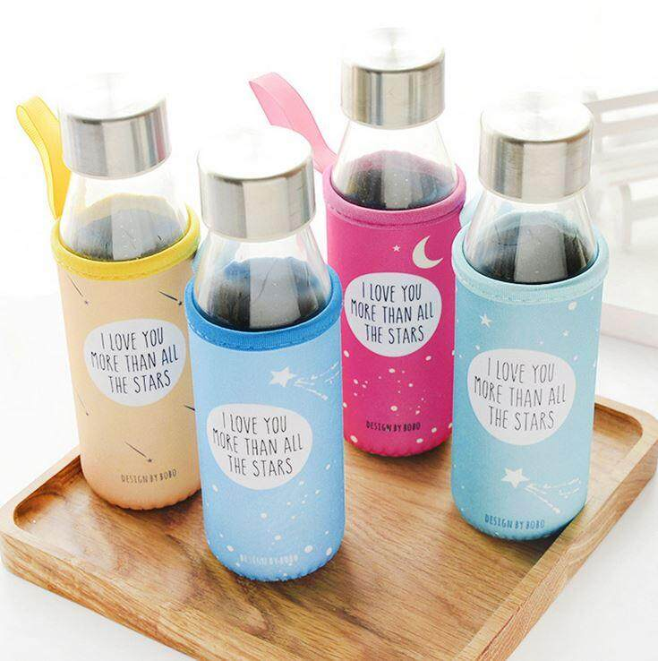 330 ml Glass Star Cloth Cover Water Bottle ACC-052