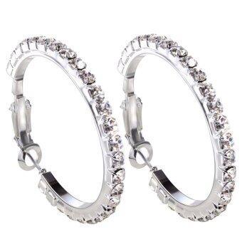 Clear Rhinestone Round Crystal Earring Hoop Circle Silver Dia 4cm (Intl)