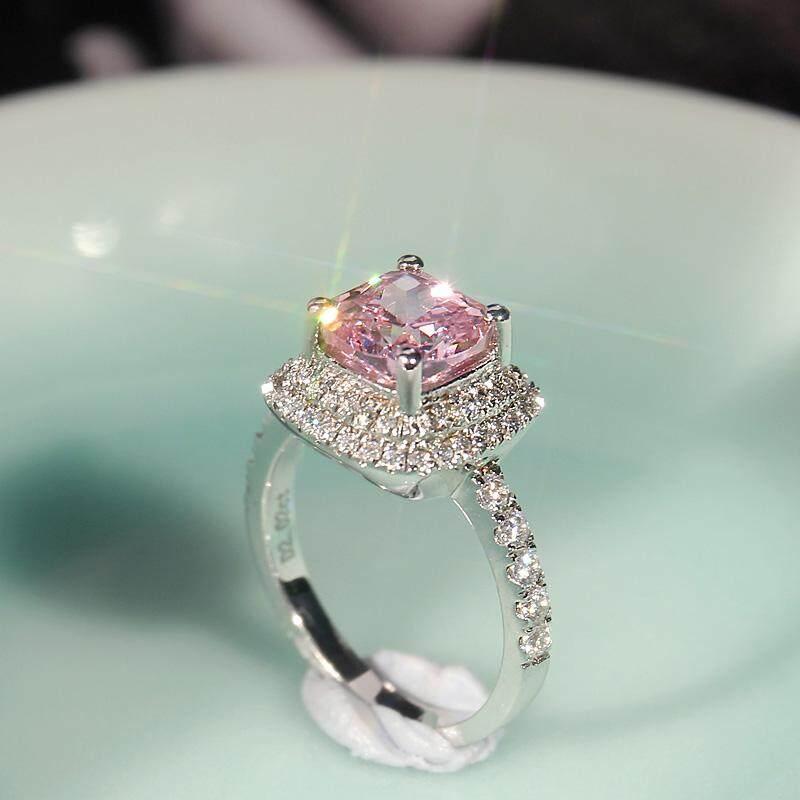 Berwarna-warni Permata Berlian merah muda Cincin perempuan Produk Asli baja karbon tinggi Diamond Putri
