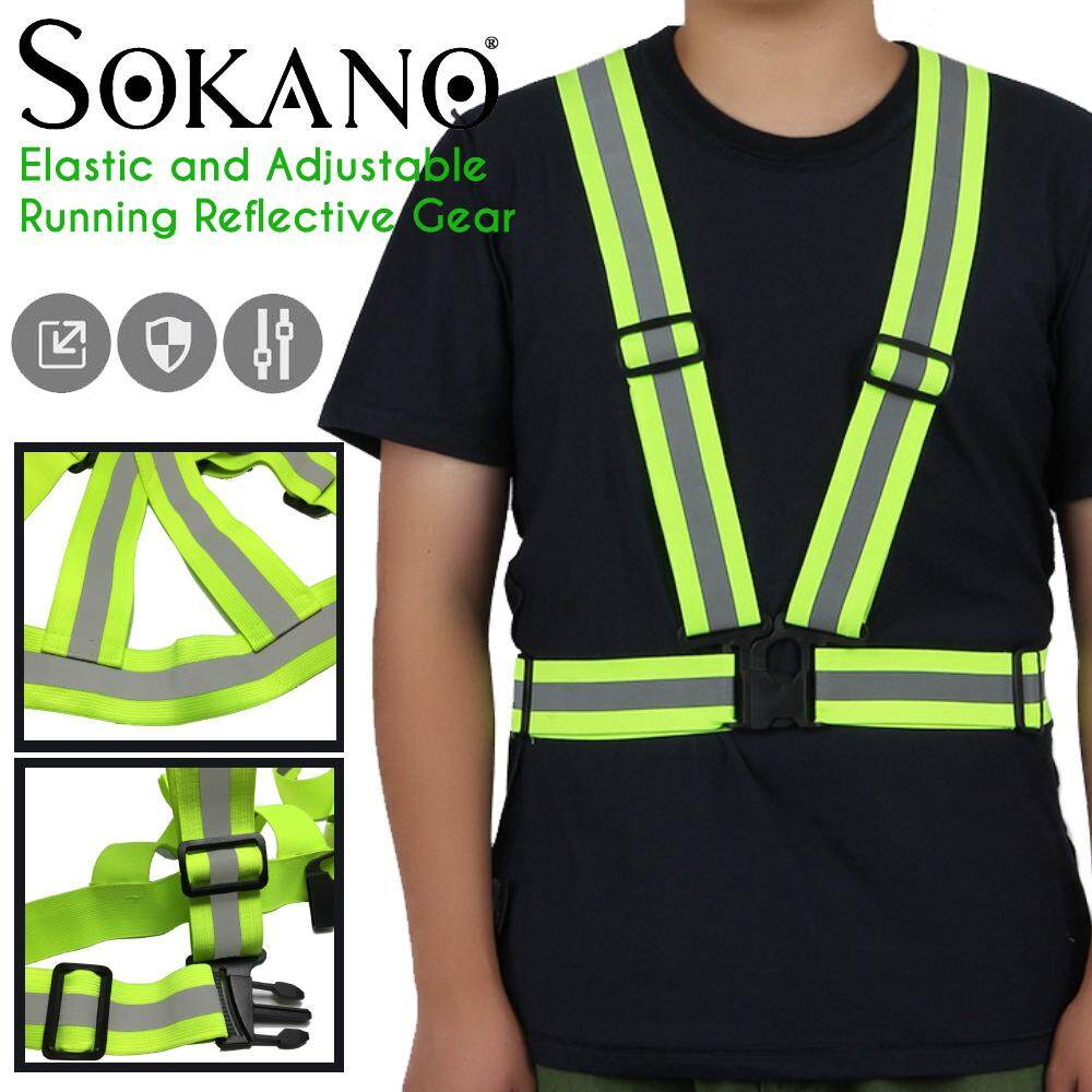 (RAYA 2019) Sokano Reflective Vest High Visibility Safety Reflective Strips Bands, Elastic and Adjustable Running Reflective Gear for Unisex for Night Running, Biking, Walking