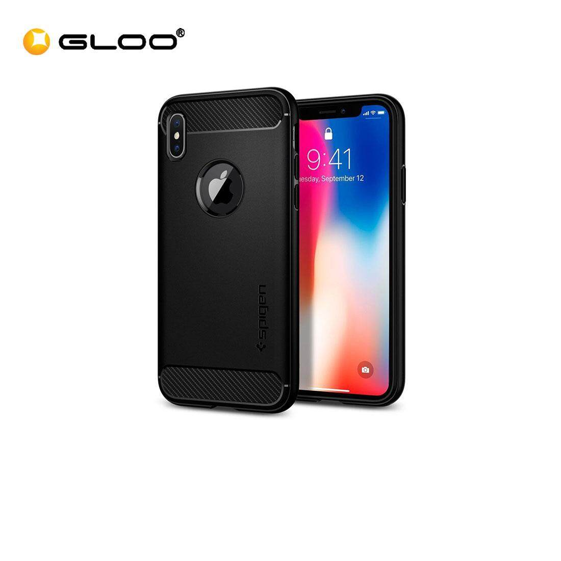 Spigen iPhone X Rugged Armor Matte Phone Case- Black