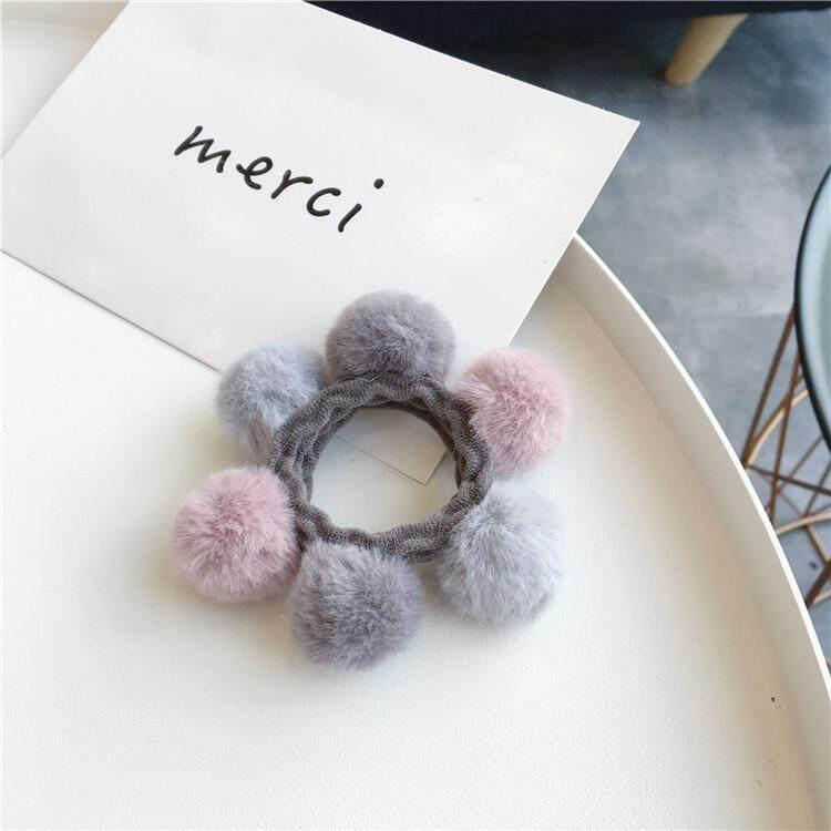 Korea Elegant Fluffy Hair Ball Hair Rope Hair Ring