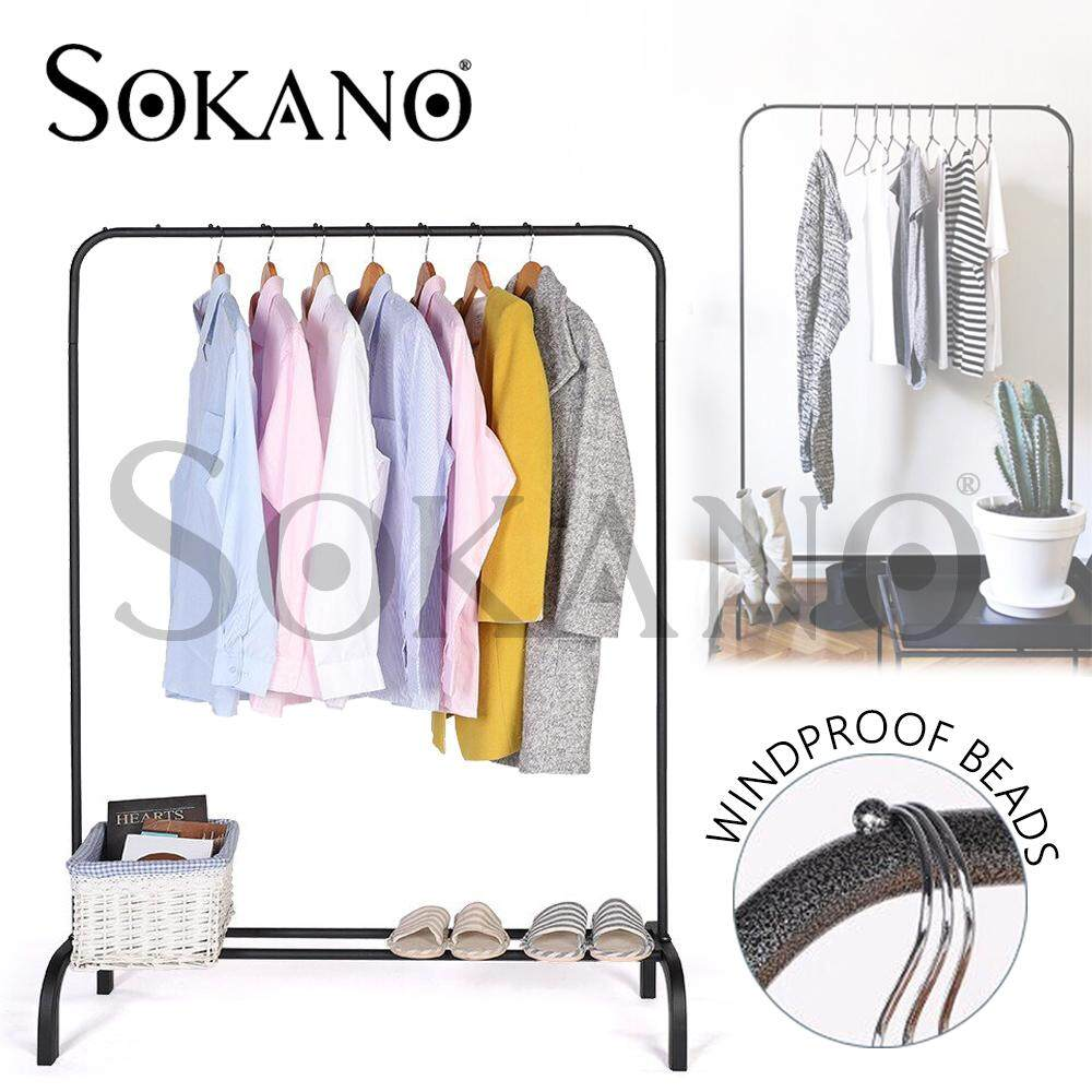 SOKANO OR001 110cm Strong Steel Structure Laundry Rack Cloth Organizer Cloth Hanger Rak Baju