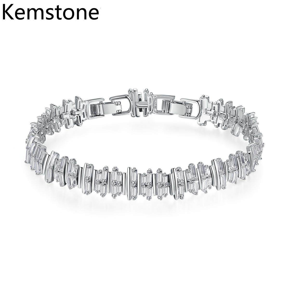 Kemstone Fashion Copper Simple Cubic Zircon Adjustable Chain Bracelet for Women Jewelry Gifts