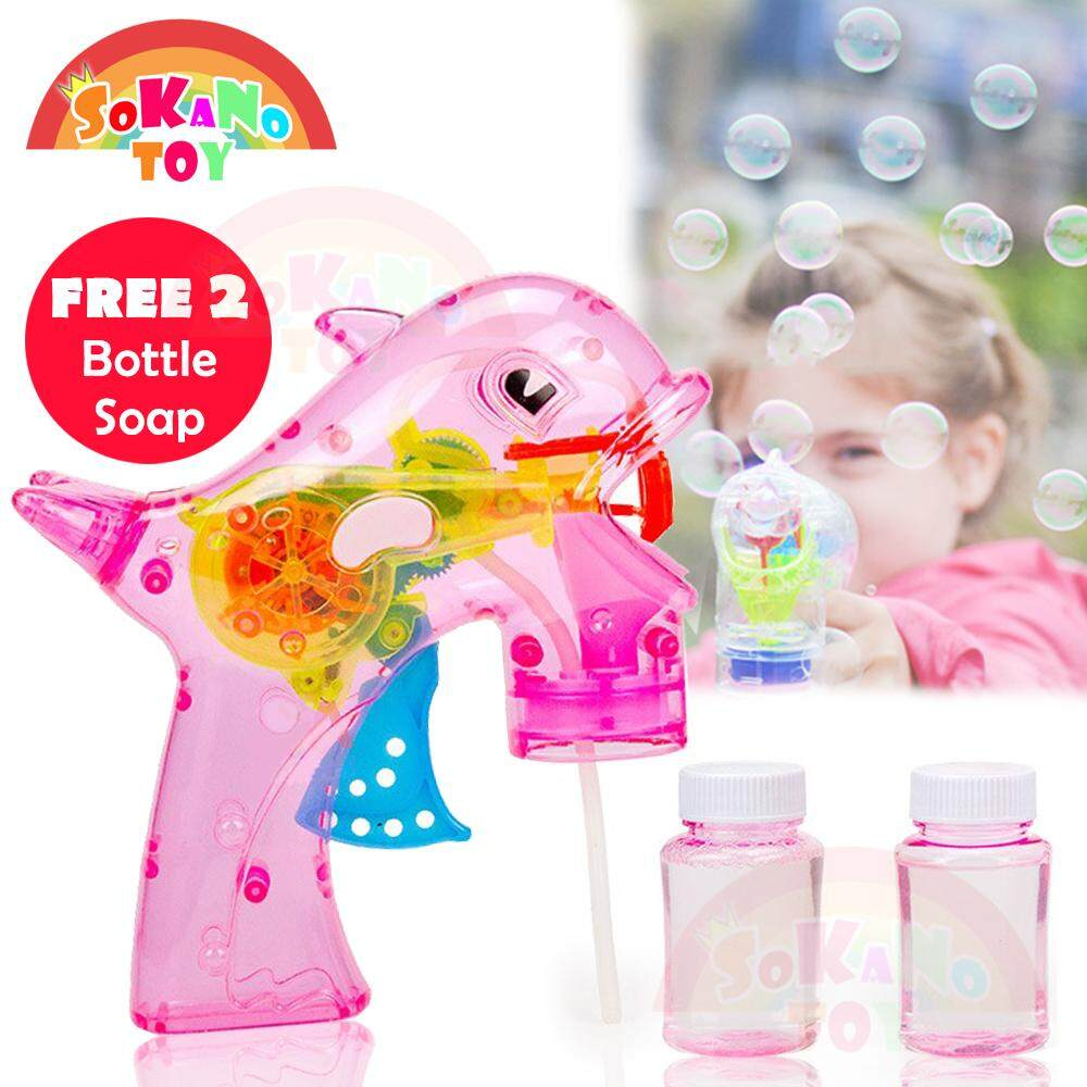 SOKANO Dolphin Design Automated Bubble Gun with LED Light and Music Toy for Her for Him Mainan (Free 2 Bottle Soap)