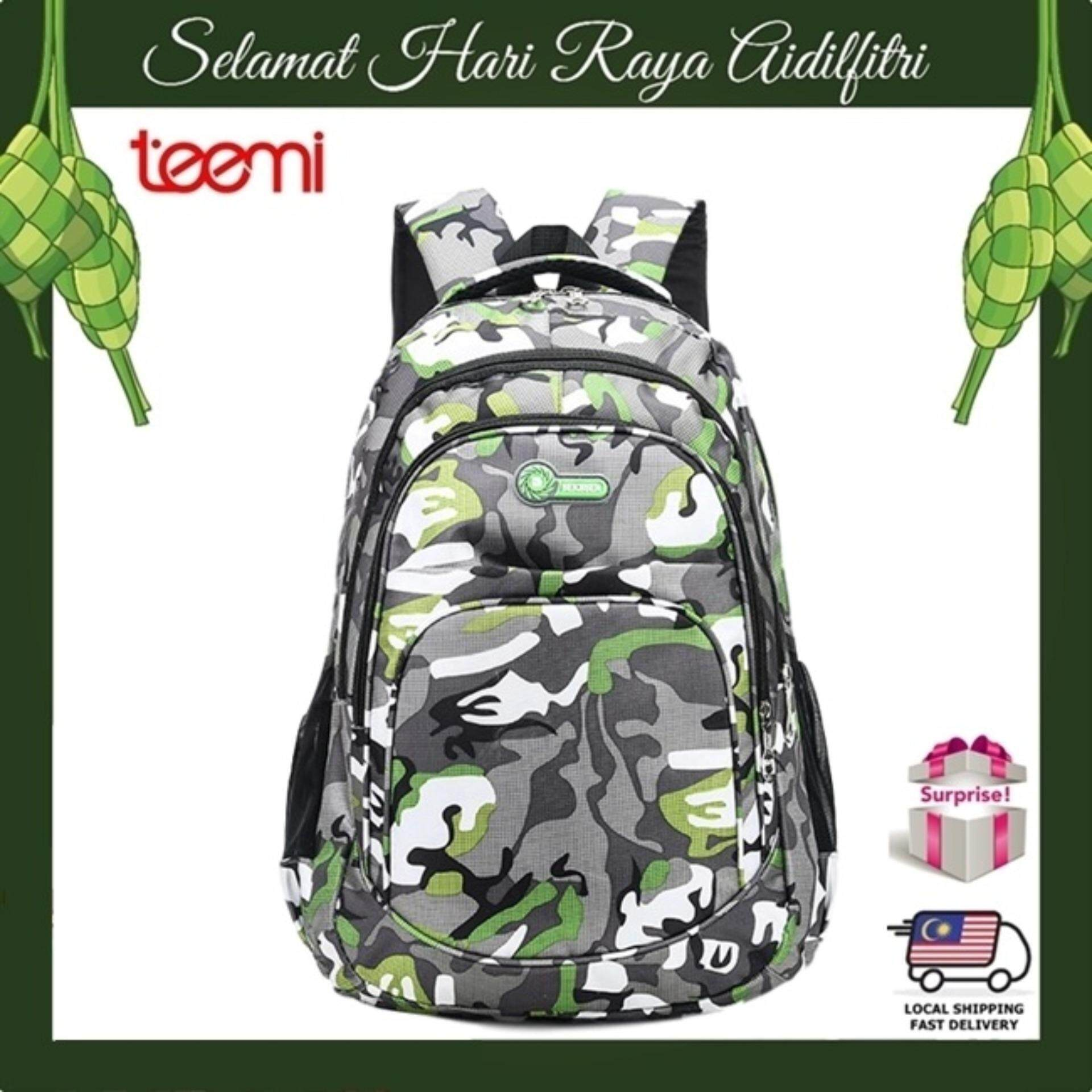 TEEMI Unisex Backpack Modern Army Camouflage Forest Stripe Printing Water Resistant Nylon Sports Laptop Travel Outdoor Leisure Teenager College Bag - Green