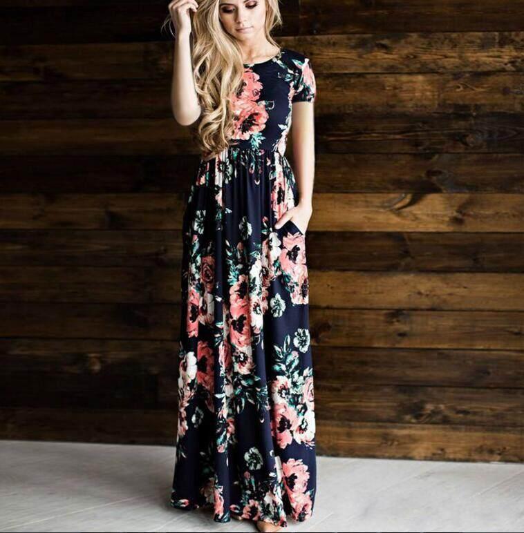 Bolster Store Plus Size Ladies Women Bohemian Maxi Flora Short Sleeve Long Dress