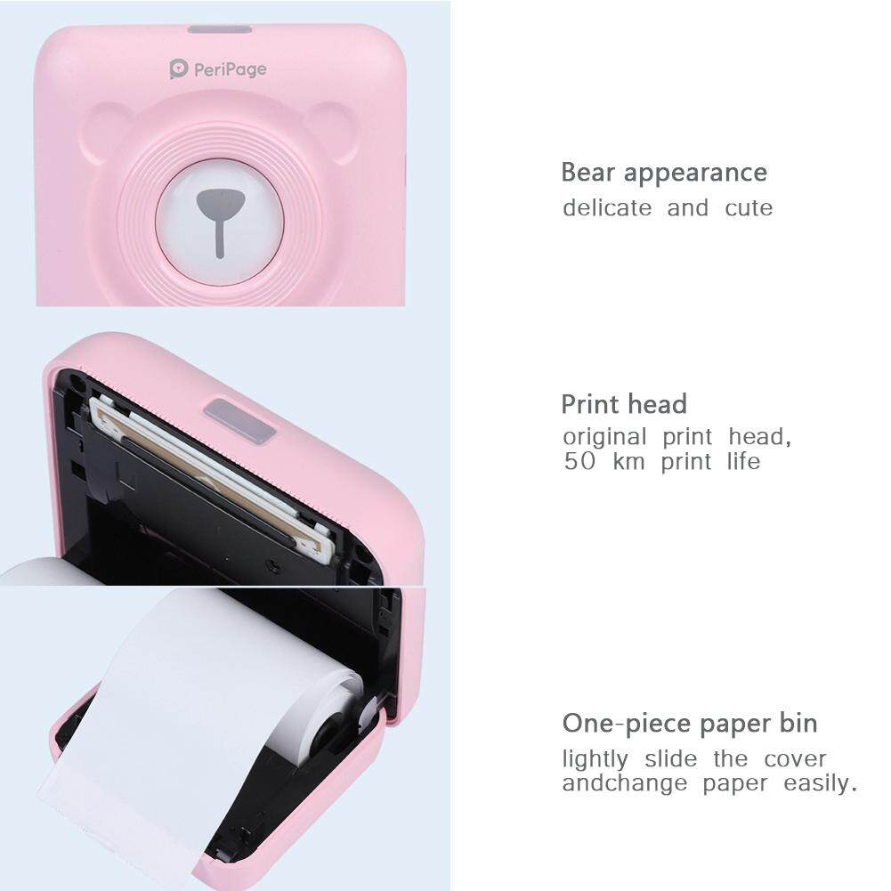 Printers - Mini Wireless Bluetooth Thermal Photo Printer Pocket Note - [WHITE / PINK]