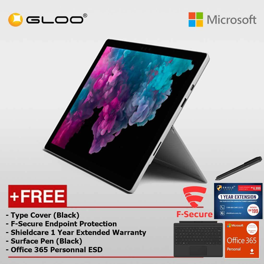 Microsoft Surface Pro 6 Core i5/8GB RAM - 256GB + Type Cover Black + Shield Care 1 Year Extended Warranty + F-Secure End Point Protection + Pen Black + Office 365 Personal (ESD)