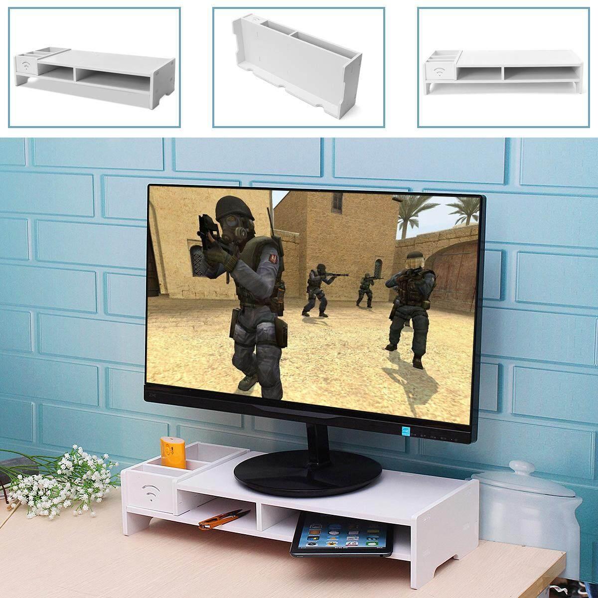 Desktop Monitor Stand Computer Screen Riser Wood Shelf Plinth Laptop White