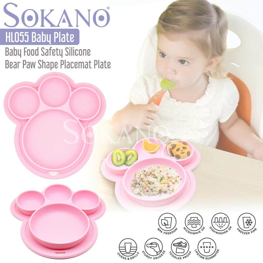 (RAYA 2019) SOKANO HL055 Baby Food Safety Silicone Bear Paw Shape Placemat Plate Tray for Infants Toddlers and Kids Dining Dinnerware