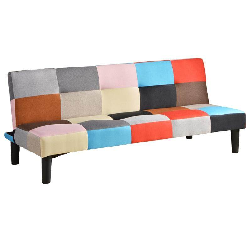 Designer Series Patchwork Sofa Fabric & Form Bed with Wood Leg