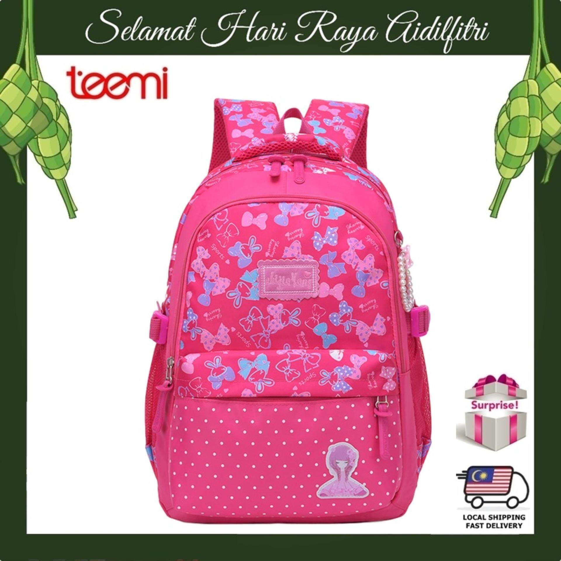 TEEMI Dreamy Candy Color Princess Girls Water Resistant Primary Secondary Nylon Orthopedic School Bag Ribbon Printing Kids Children Laptop Backpack - Hot Pink