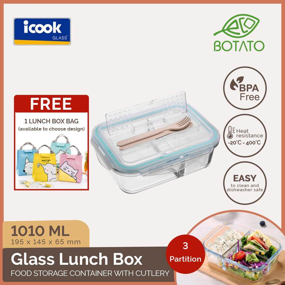 ([Ready Stock][Double Wrapping Delivery] Eco.Botato GLASS LUNCH BOX with CUTLERY Microwave Freezer Save BPA Free Heat Resistant Meal Container with Partition, Strong Sealing Cover icook for Dish Serving Picnic Hiking Travel in Creative Rectangle Shape Rom