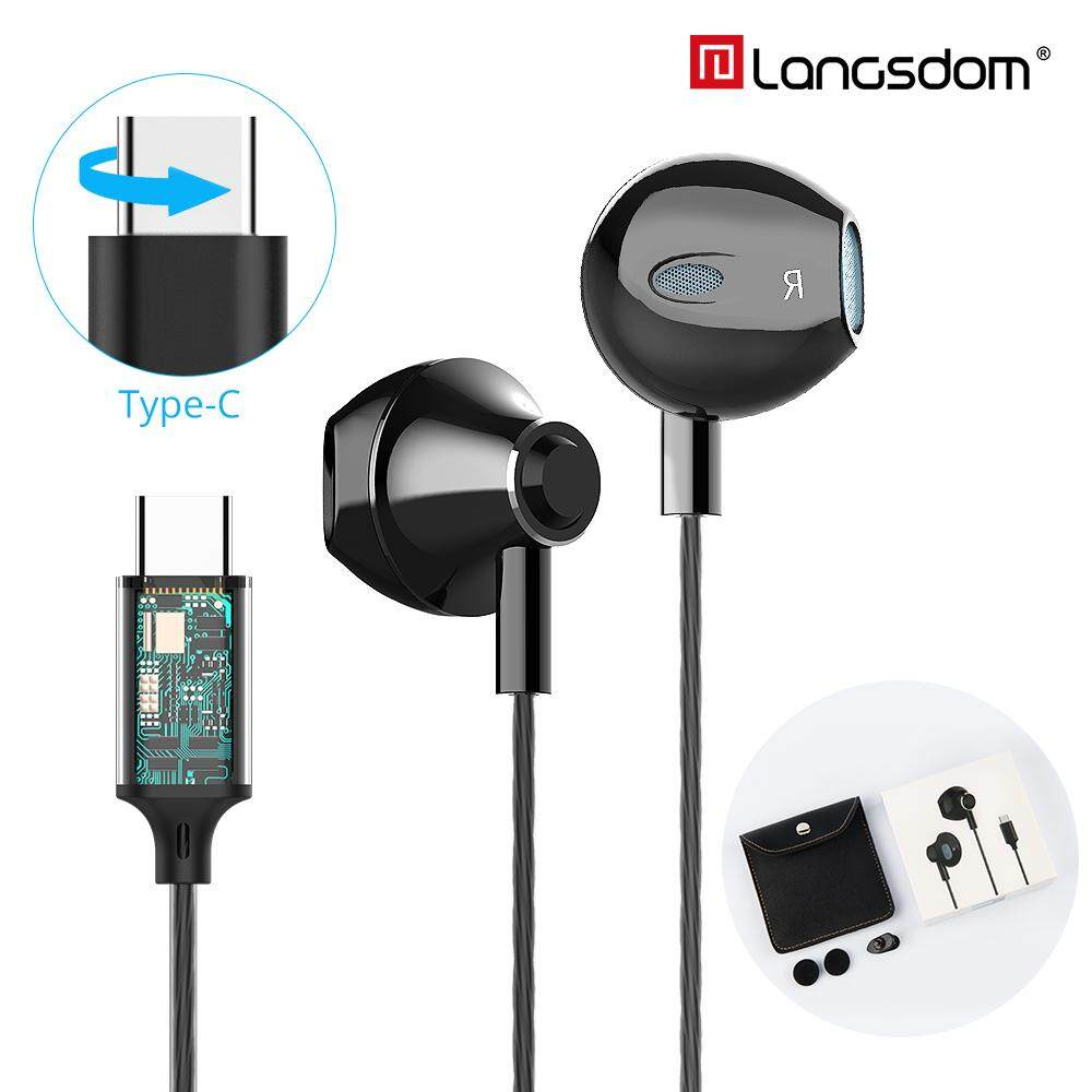 JB 2019 Langsdom ดิจิตอล Type C หูฟังพร้อมไมโครโฟน HIFI หูฟังเบสสำหรับ Samsung ในหูฟังสำหรับ Auriculare Xiaomi USB C