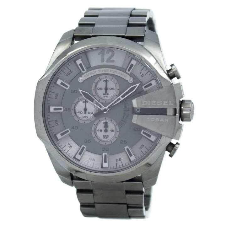 ยี่ห้อนี้ดีไหม  มหาสารคาม Diesel_Mega Chief Quartz Chronograph Grey Dial Black IP DZ4282 Men s Watch