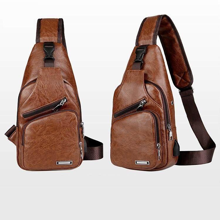 Men PU Shoulder Chest Bag USB Charging Port Sling Bag