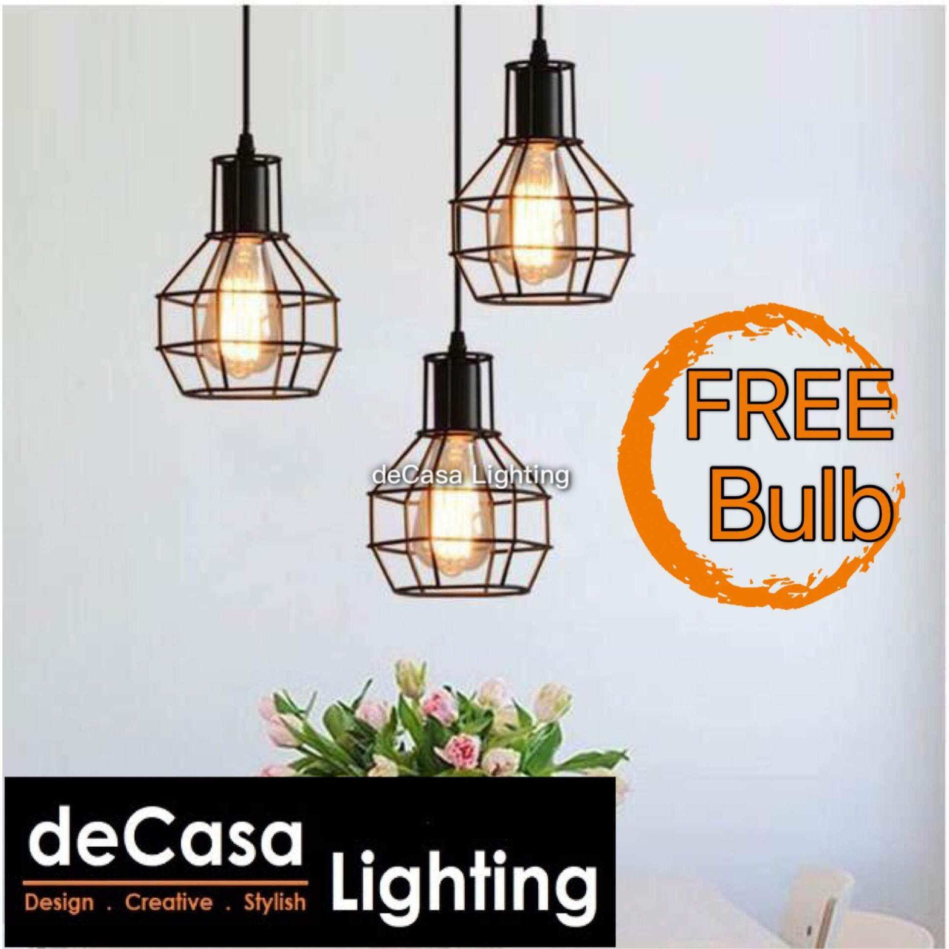 Ceiling Lights Pendants Light with Round Base Decasa Lighting Designer Decorative Ceiling Lights Pendants Light Set of 3(Black)  Loft Designer Decorative DECASA Pendant Light Ceiling Light Best Seller Lighting (MH-0180-BK-3RB)