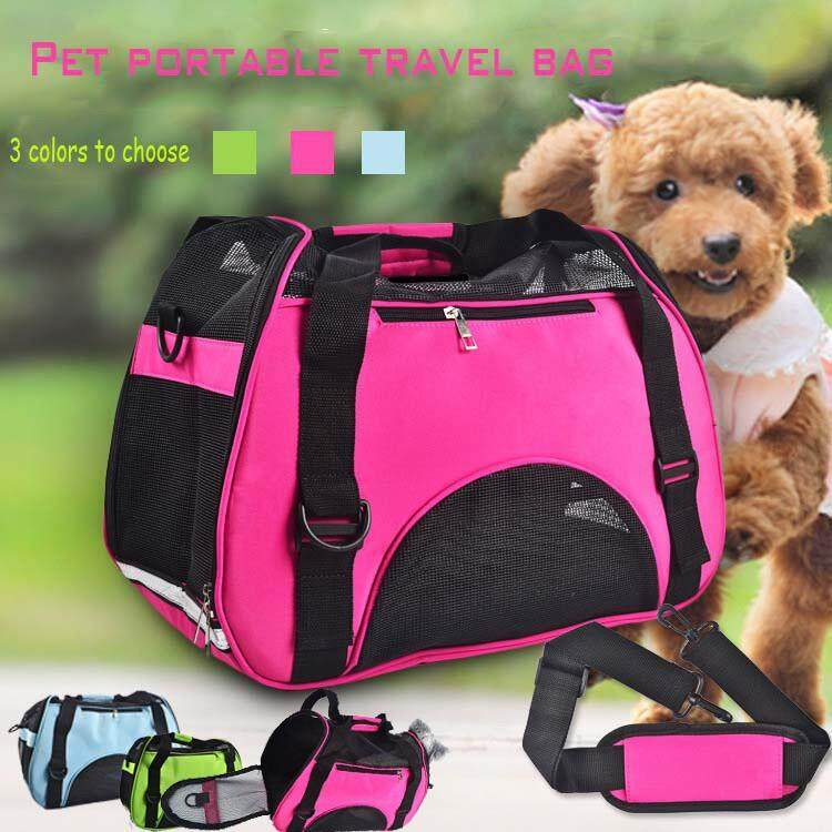 Grooming & Accessories - Grid Breathable Fabric Portable Travel Pet Carrier Bag For Small Medium Dogs Cat - [GREEN-S / GREEN-M / GREEN-L / BLUE-S / BLUE-M / BLUE-L / PINK-S / PINK-M / PINK-L]