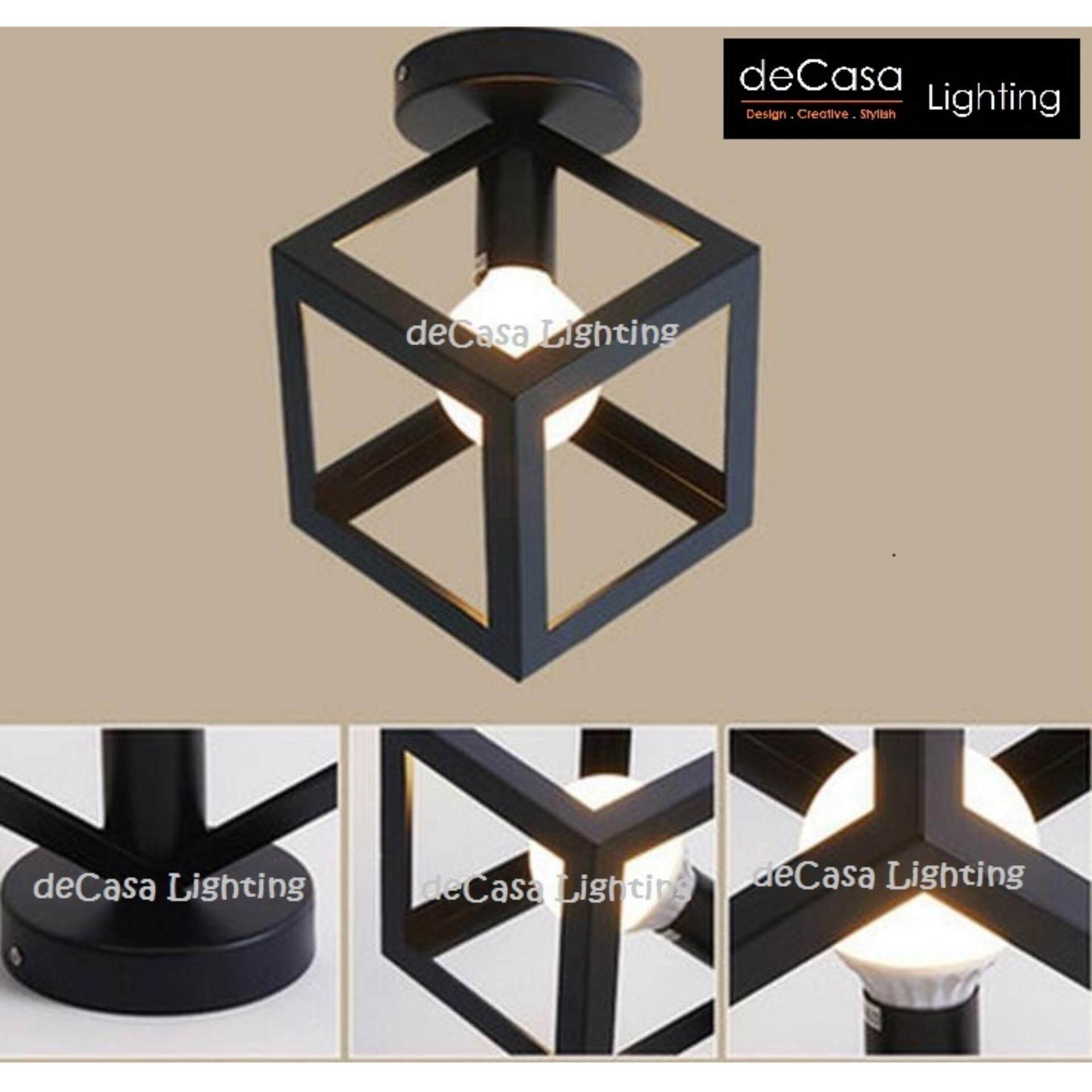 Ceiling Light DECASA LOFT PENDANT SQUARE CUBE BLACK SET (JL-PX807-BK-BASE)
