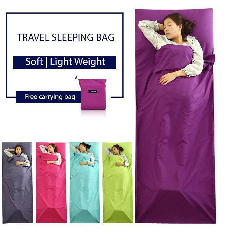 Double Size Foldable Camping Hiking Sleeping Bag Lightweight Travel Purple