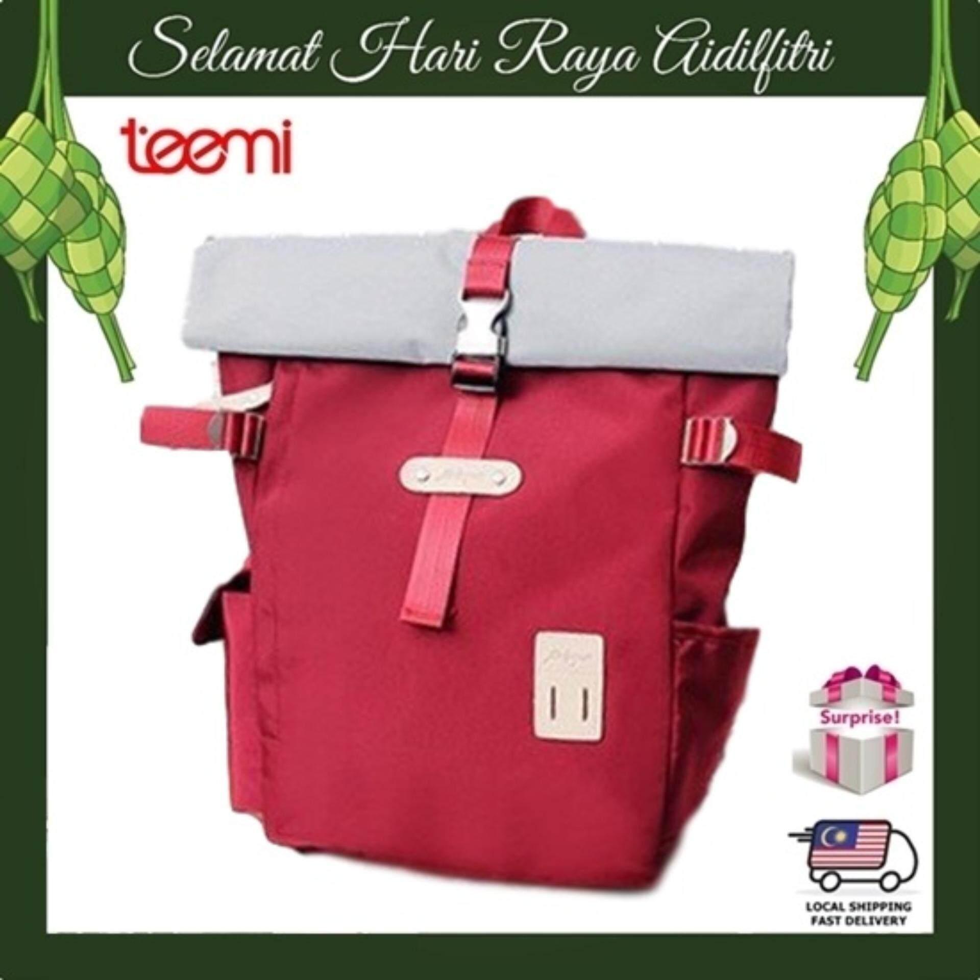 TEEMI Roll Top Satchel Travel Backpack Laptop Bag Knapsack Bergen Rucksack - Red