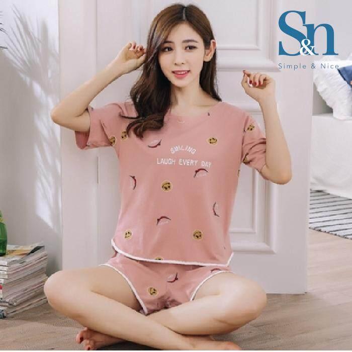 【SIMPLE & NICE】Malaysian Fashion Women Smile Design Summer Wear Set (Pink-Size: M-XXL)