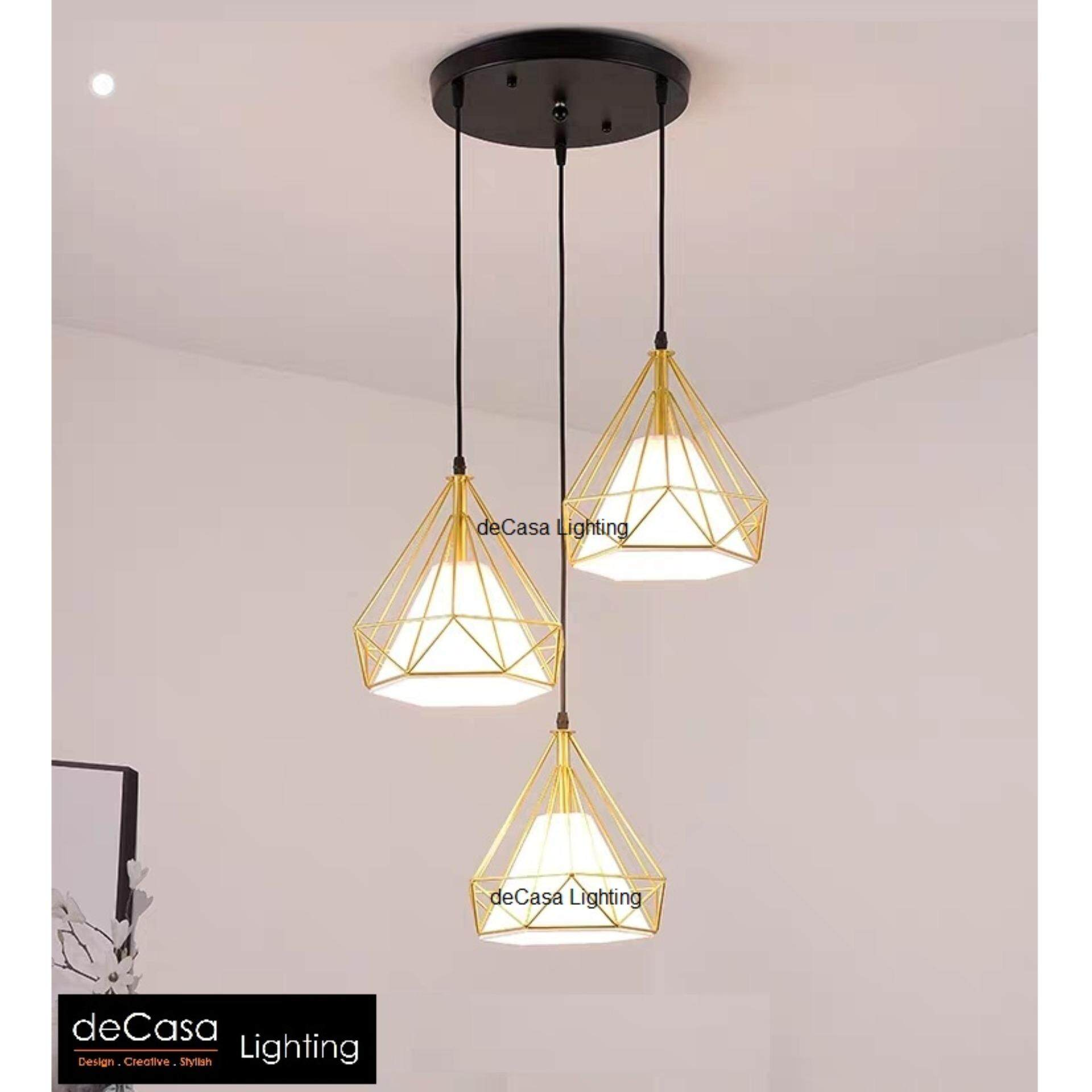 Best Ceiling Light Set Of 3 In 1 Round Base Decorative Diamond Pendant Decasa Hanging Ly Ty201 25 3rb