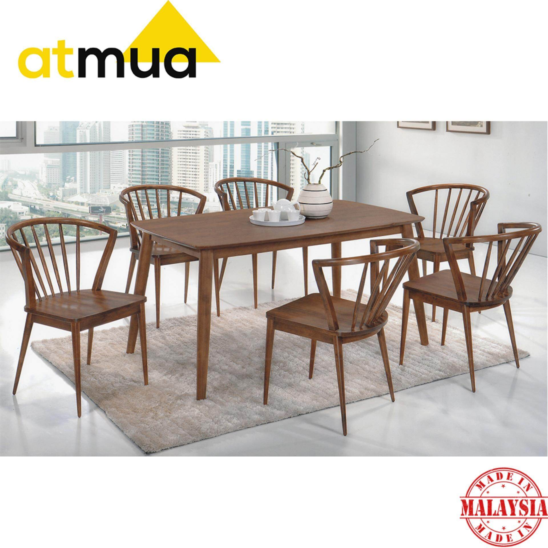 Atmua Blush Dining Set (1 Table + 6 Chair) - Scandinavian Style [Full Solid Rubber Wood]