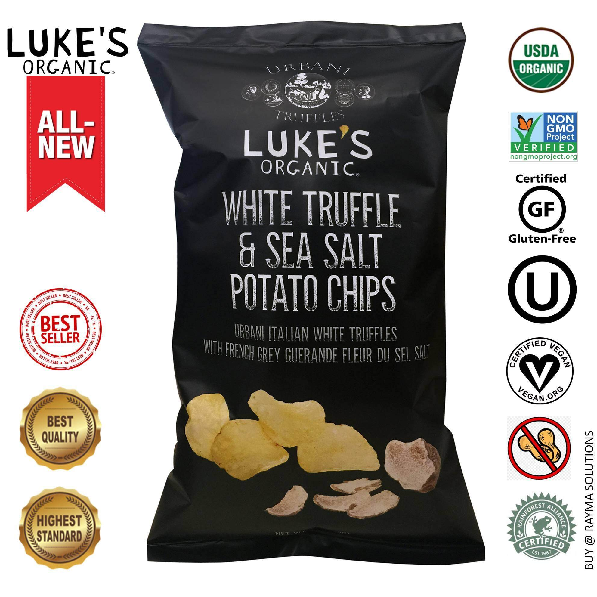 LUKE\\'S ORGANIC White Truffle & Sea Salt Kettle Style Potato Chips, Gluten Free, 113g