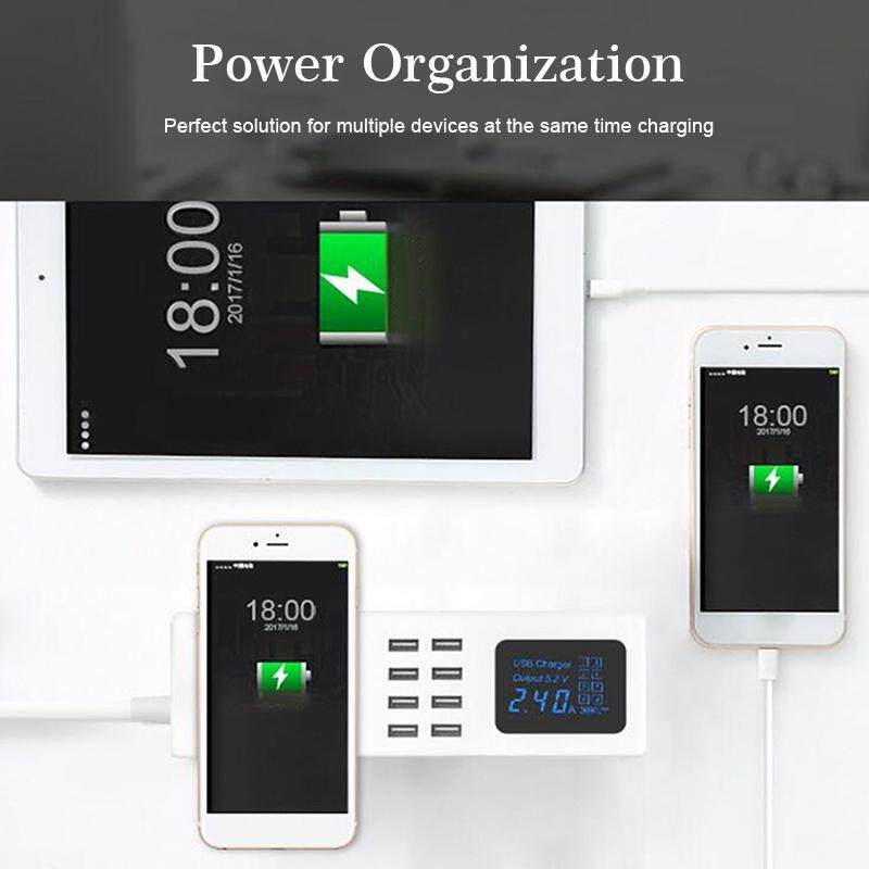 Universal Smart Charger 8 Ports USB Fast Pad With Led Display Socket Adapter