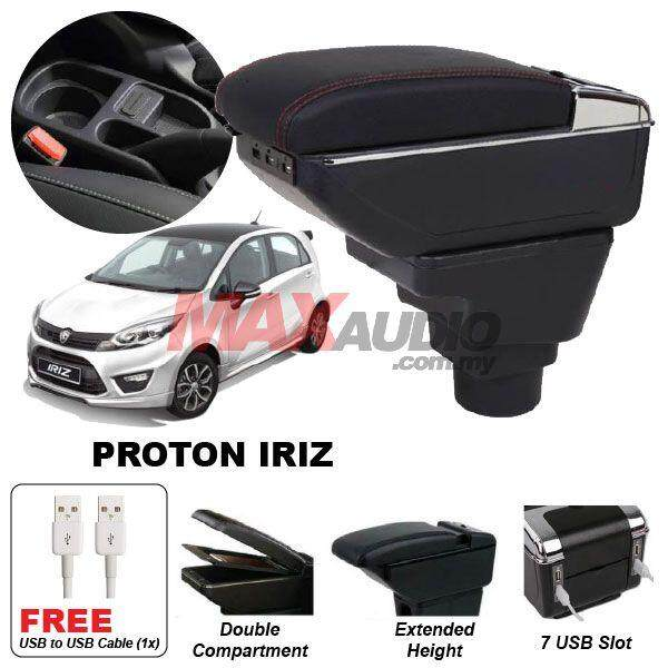 [FREE GIFT] PROTON IRIZ Premium Quality Adjustable Black Leather With Red Stitch Arm Rest with USB Charger Extension & Cup Holder