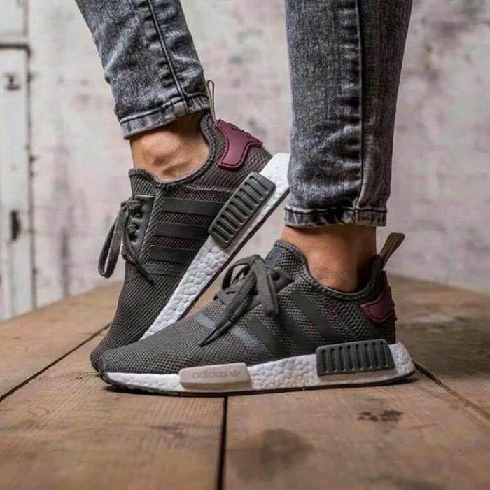 ยี่ห้อนี้ดีไหม  ยโสธร รองเท้า Adidas NMD R1 W  Utility สีเทา/Maroon  (Tmall เดิม)