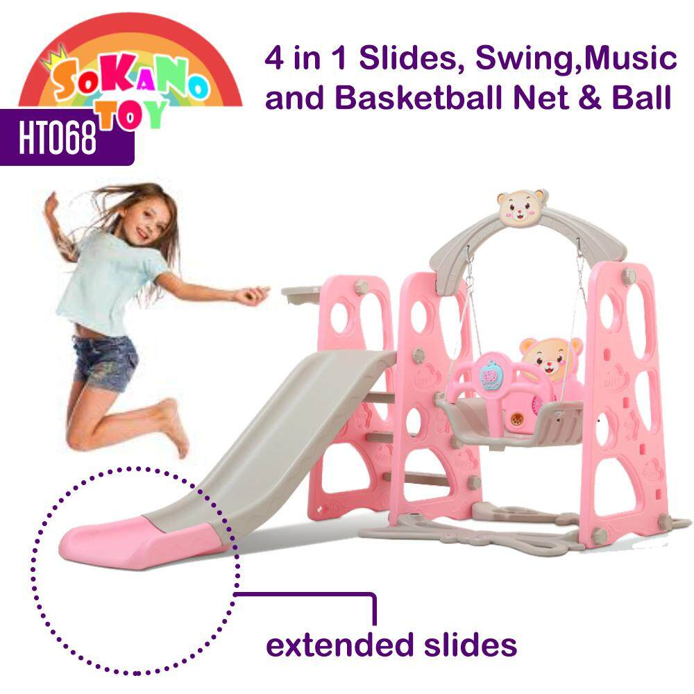 SOKANO TOY HT068 4 IN 1 Swing Children Slide Kids Slide With Basketball Net Indoor Outdoor Colourful Mini Playground (Extended Longer Slide 150cm)