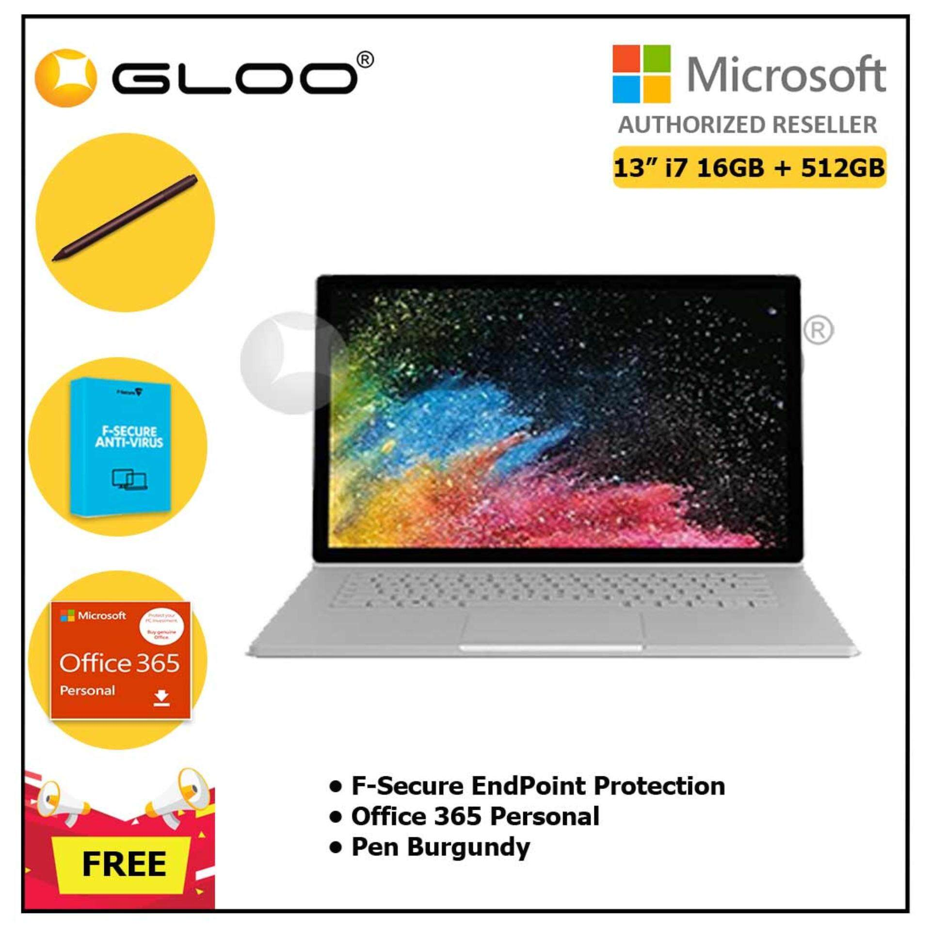 """Surface Book 2 13"""" Core i7/16GB RAM - 512GB [FREE F-Secure End Point Protection + Off 365 Personal + Microsoft Surface Pen Burgundy]"""