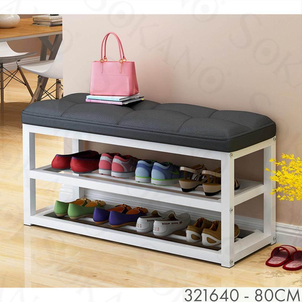 SOKANO C3047 PU Leather Cushioned 2 Tiers Shoe Rack Shoe Shelf Sofa Rak Kasut