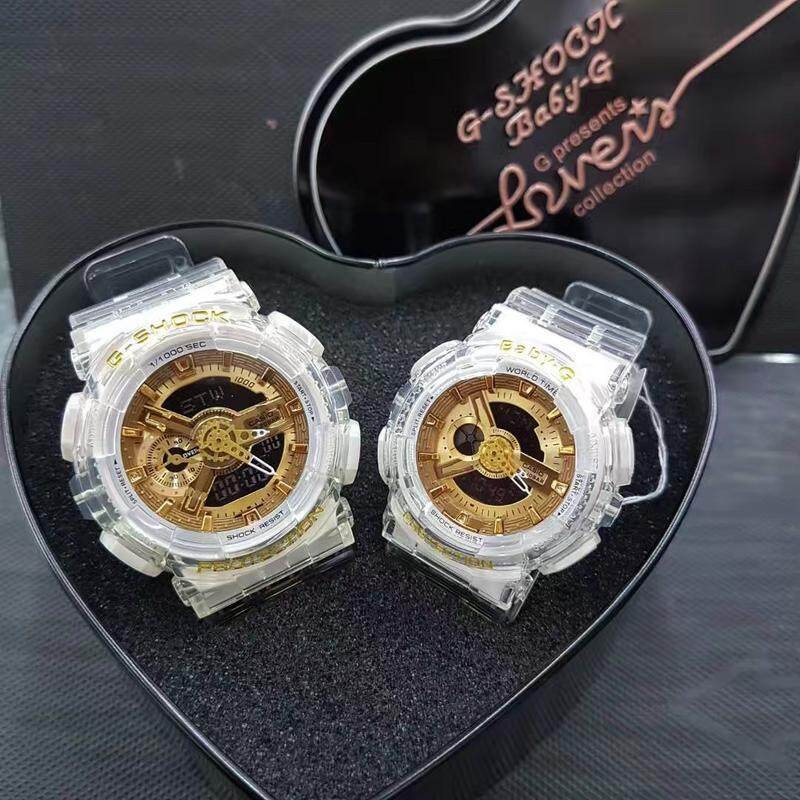 {Special Promotion} Fashion Casio G-Shock_Couple Dual time Display Full For Men & Women With Own Heart Gift Box Mineral Glass New Sport Casual Follow Us For More