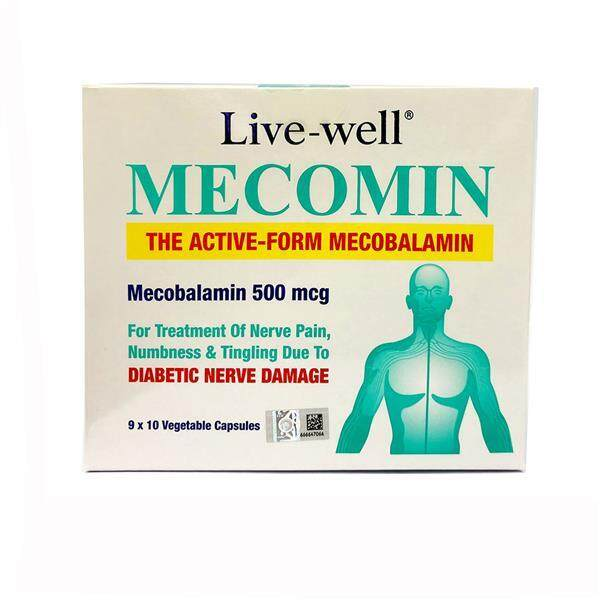 LIVE WELL MECOMIN (Vitamin B12 500MCG 90capsules for Nerve Pain & Numb)