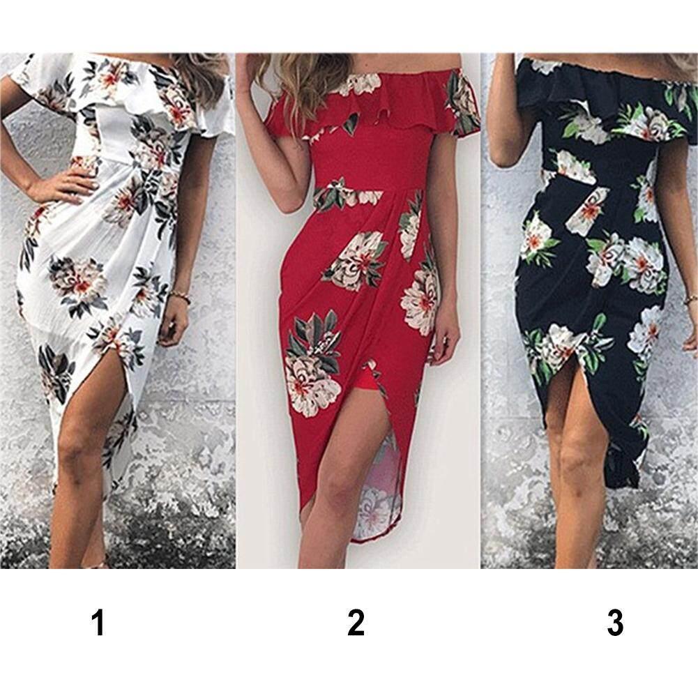 Wanita Pundak Terbuka Musim Panas Tidak Teratur Split Fashion Falbala Pantai Gaun - 3