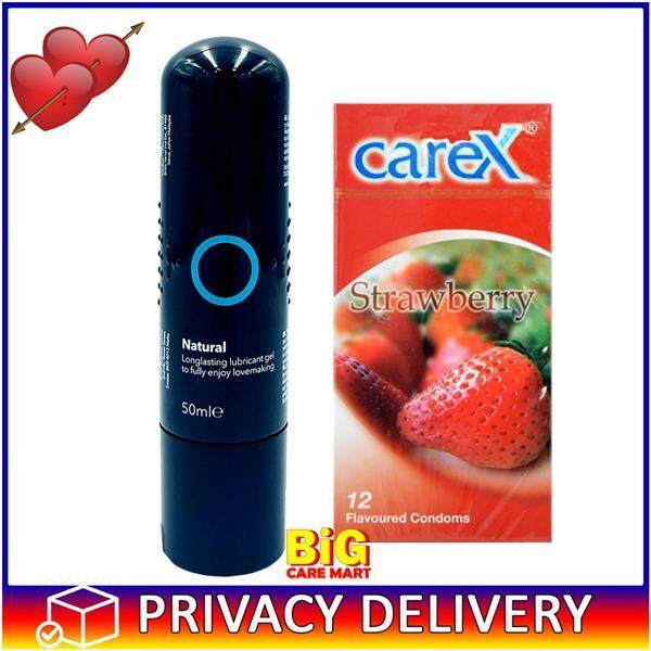 Carex Condoms Strawberry Flavor 12pc + Natural Lubricant Gel 50ml