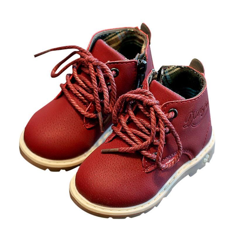เด็กLow-Top Martinรองเท้าบู๊ตมีซิปด้านข้างชายและหญิงรองเท้าหนัง