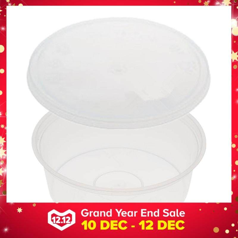250ml PP Microwavable Round Containers With Lids Clear 10pcs