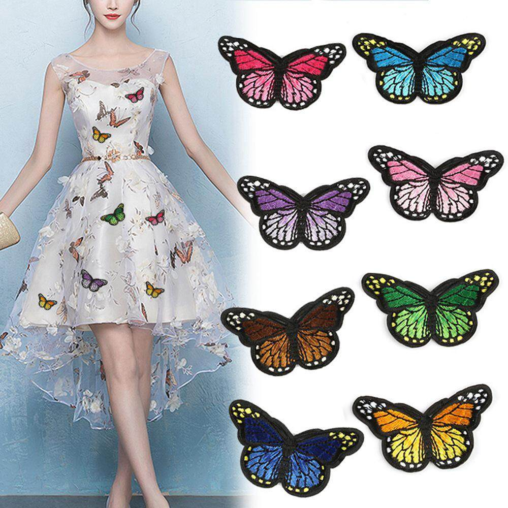 Sew On Patch Dress Skirt Shirt Jeans Bag Badge Pink Butterfly Embroidered Iron