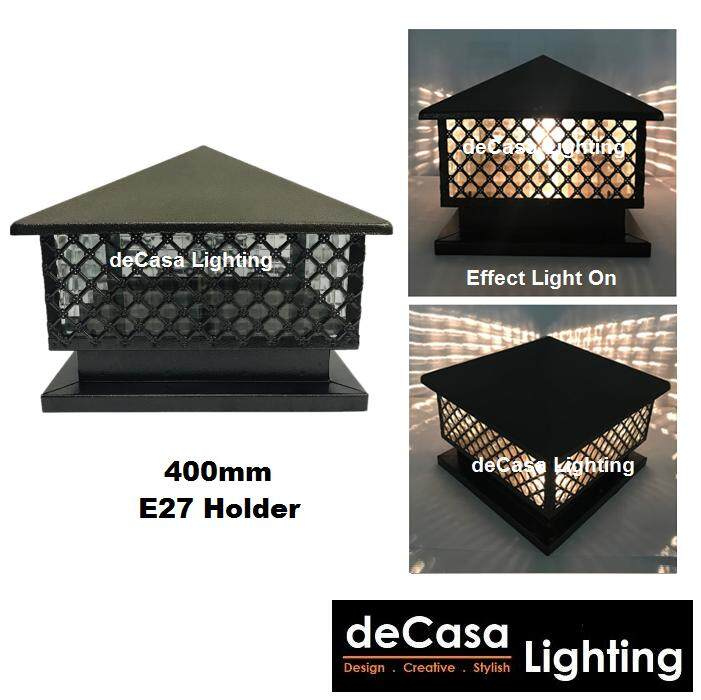 Weather Proof Outdoor 40cm Gate Light Decasa Lighting Weather Proof Powder Coated Brown Outdoor Pillar Light Lampu Pagar Lampu Tembok (DL-913-400)