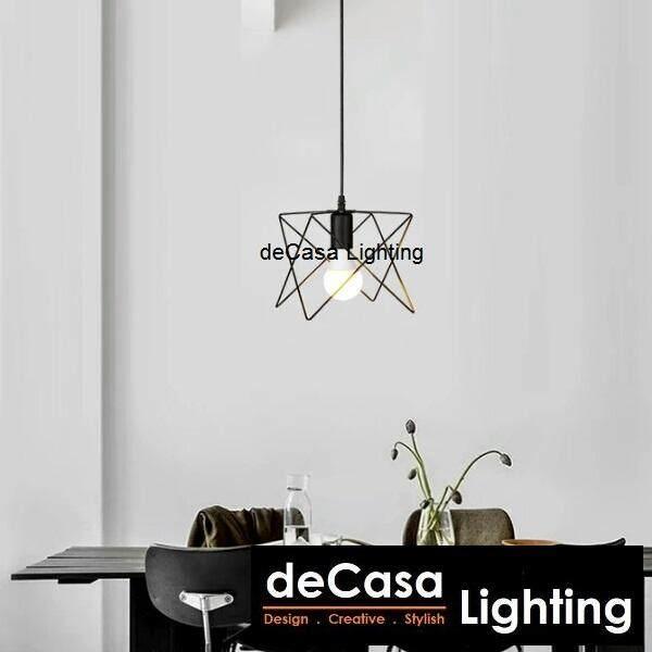 DECASA Black Pendant Light Iron Modern Vintage Ceiling Light Pendant Lamp Fixture Chandelier Lage Lampshade (JL-MJ06-BK-1SB)