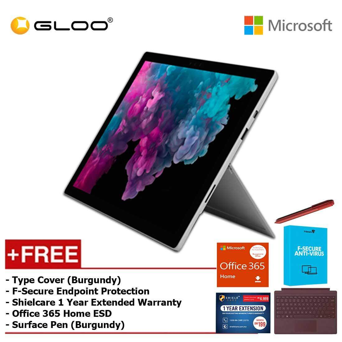 Microsoft Surface Pro 6 Core i5/8GB RAM -128GB + Type Cover Burgundy +  Office 365 Home (ESD) + Pen Burgundy + Fsecure + Shieldcare 1 Year Extended Warranty