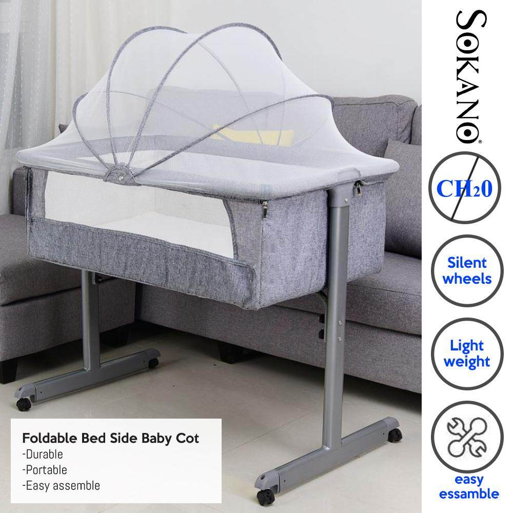Foldable Bed Side Baby Cot Baby Bed Portable Bed Connected with Parent's Normal Big Bed Infant Travel Sleeper Portable Cot Katil Bayi Tepi Katil