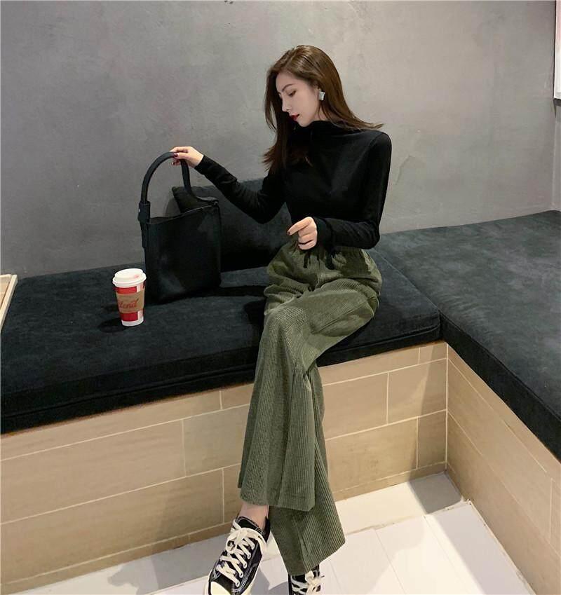 Gadis Republik Harga Lebar Kaki Celana Versi Korea Korduroi Peramping Pinggang Tinggi Celana Kasual - 5